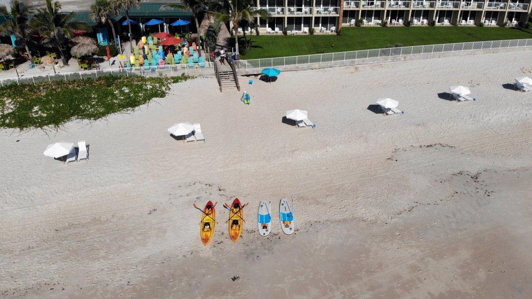 Beach chairs and umbrellas at the holiday inn vero beach