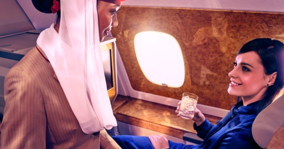 Why are cabin crew using mobile phones onboard Emirates flights. New Samsung Galazy A7 smartphones being introduced as meal ordering devices.