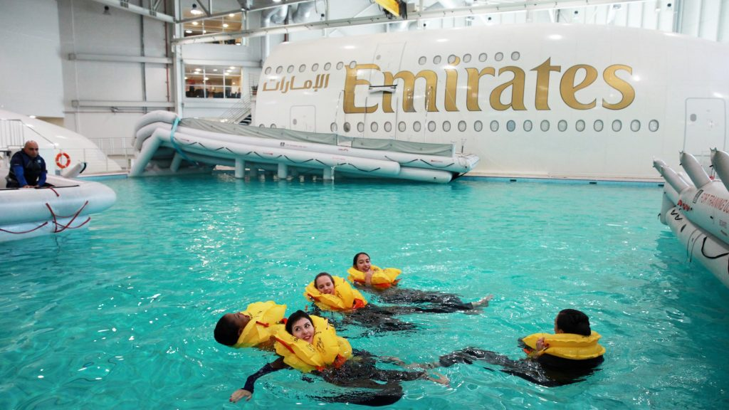 Emirates Cabin Crew taking part in a ditching excercise during SEP training. Photo Credit: Emirates