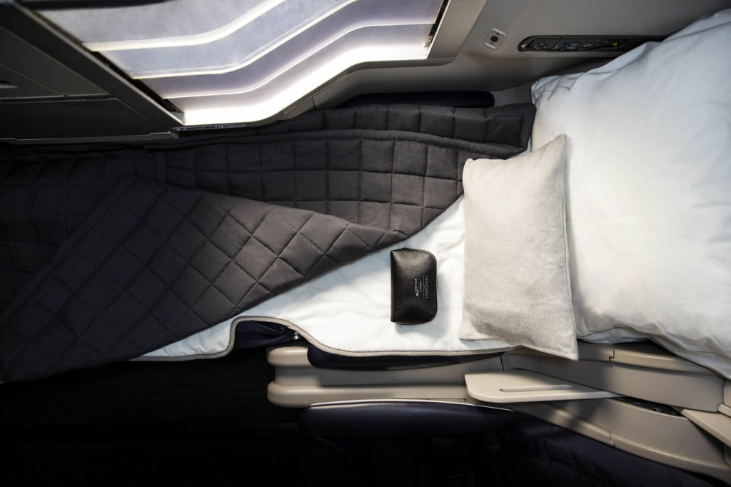 The new British Airways bedding and amenity kit for Business Class passenger. Photo Credit: British Airways