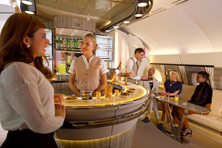 Emirates Launches Its Revamped Onboard Bar and Lounge as 96th Airbus A380 Takes to the Skies