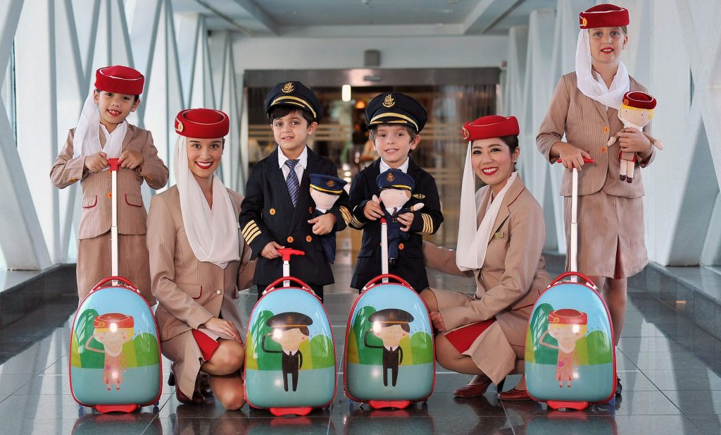 The replica cabin crew and pilot uniforms have proved very popular with younger travellers. Photo Credit: Emirates
