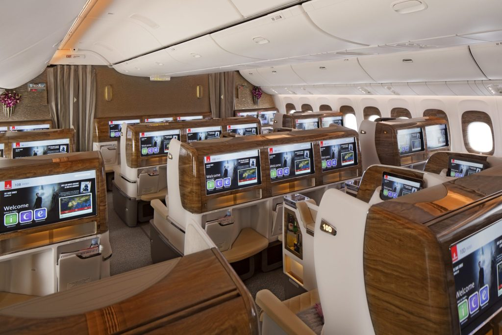 """The refreshed Business Class cabin features """"classy textured panels"""" and a """"light and modern colour scheme"""". Photo Credit: Emirates"""