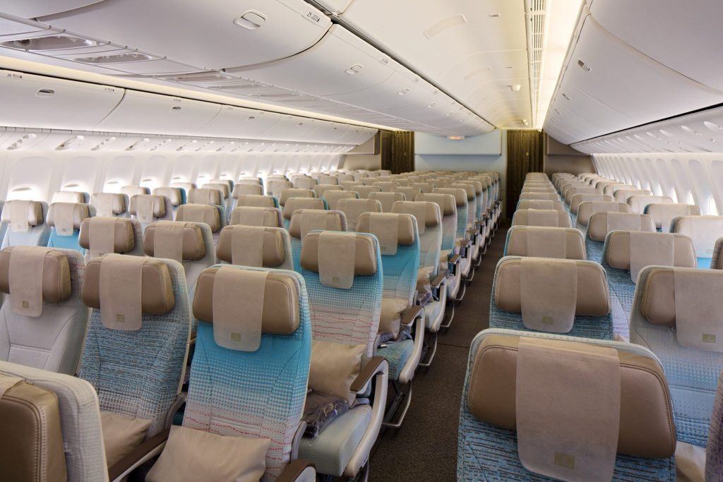The ergonomically designed seats now feature leather headrests with flexible sides and a new colour palette. Photo Credit: Emirates