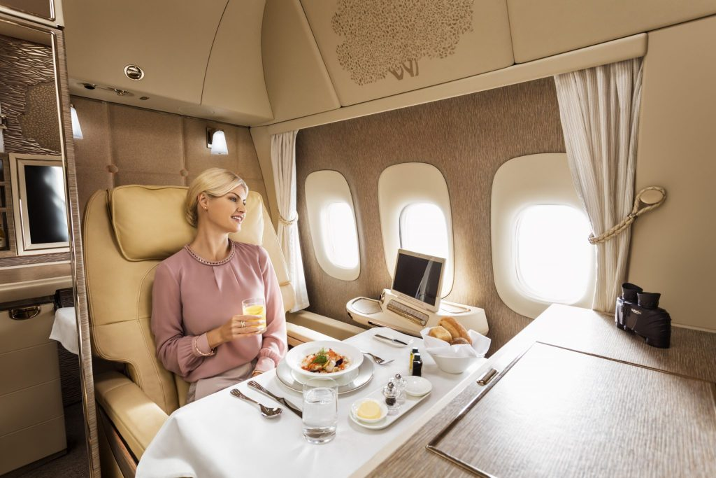The new Emirates First Class Suite have a video call feature - allowing passengers to order 'room service' from the cabin crew. Photo Credit: Emirates