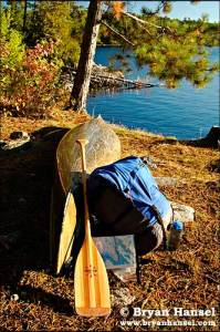 Bell Magic, portage pack and ZRE paddle in the Boundary Waters during a test of the Terramar T-shir