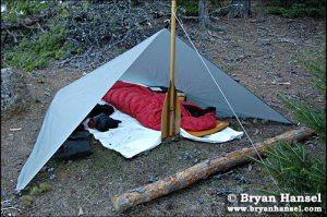Integral Design 8x10 tarp set-up to provide a basic shelter.