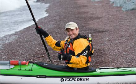 Bryan Hansel prepared to launch his sea kayak.
