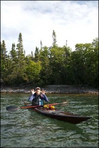 Ilena in a reproduction of the 1959 Kenneth Taylor kayak near The Narrow. Pigeon Point, MN.