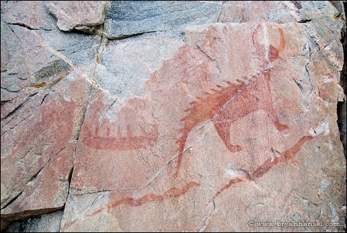 Visiting the Mishipeshu pictographs at Lake Superior Provincial Park.