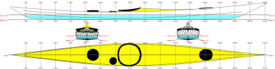1921 SW Greenland kayak linesplan -- Skinny Walrus
