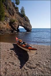Sea kayak and Lake Sueprior arch.
