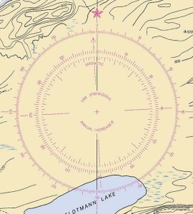 Example compass rose showing 3 degree west variation.