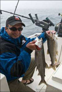 Lake Superior lake trout on a charter.