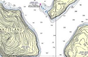 Example natural features on a NOAA chart.