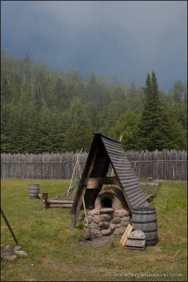 A wood fired oven for baking.