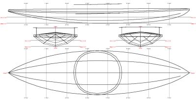 Koryak Kayak Linesplan, Figure 176