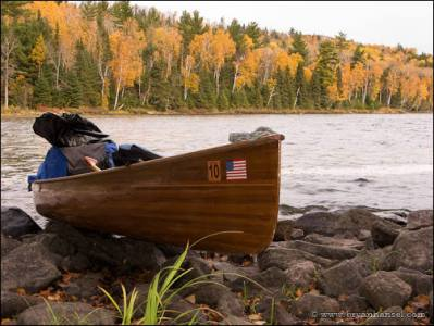 Canoe in the BWCA during the fall.