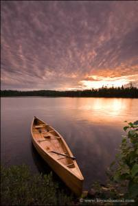 Canoe and sunset in canoe country.