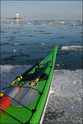 Kayak landed on floating ice.