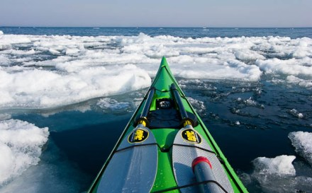 Kayaking in cold water and ice.
