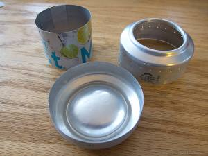 Three part required to build a sideburner pop can stove