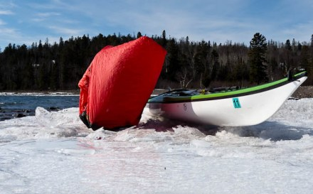 Terra Nova Superlite 2 Bothy Bag used on ice near my kayak.