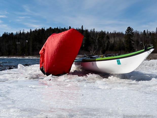 Terra Nova Superlite 2 Bothy Bag used on ice near my kayak.