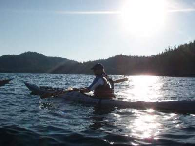 Tim Gallaway kayaking on Lake Superior