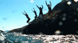 Cliff jumping on Lake Superior.