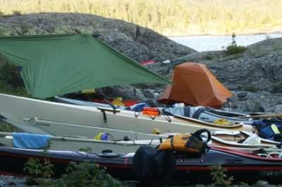 Kayaks on Canada's Lake Superior coast