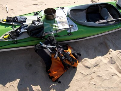 Kayaking accessories on the beach