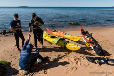 kayakers on a beach in the Apostle Islands