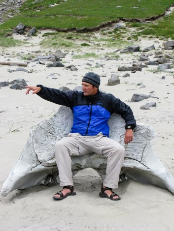 Sitting in a whale skull on Bunes Beach.
