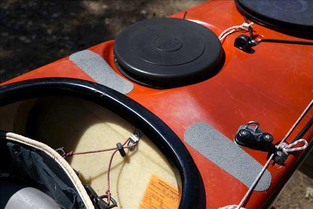 non-skid tape on a kayak