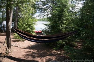 A hammock hangs in the BWCA