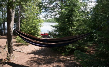 A hammock hangs in the BWCA