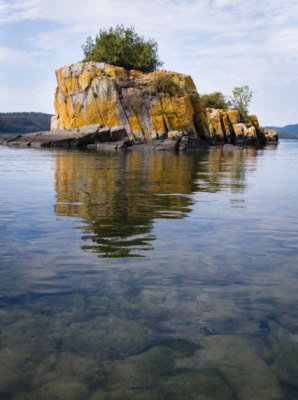 Boxcar Islands reflecting in Lake Superior.