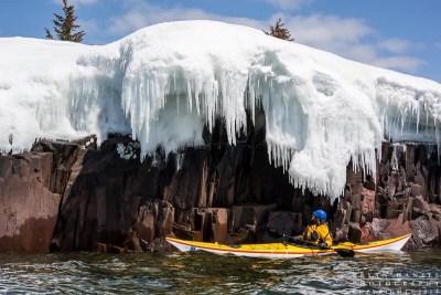 kayak on lake superior under ice