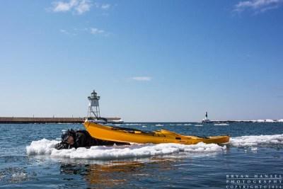 ice kayaking in grand marais