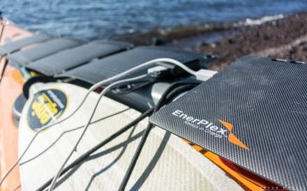 Enerplex solar power equipment on a kayak
