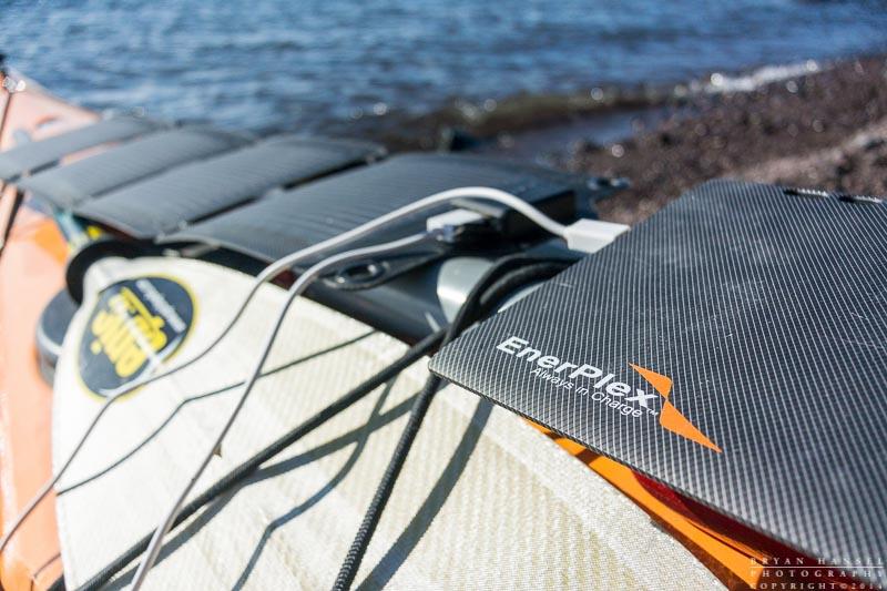 Enerplex solar power equipment on a kayak