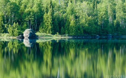 The boreal forest casts reflections onto Lake Four. Boundary Waters Canoe Area Wilderness, Minnesota.