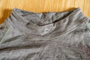 watson's merino 150 long underwear logo on the neck