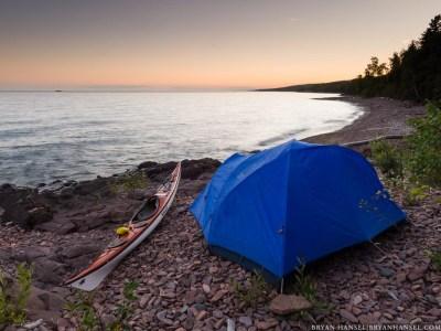 kayak campsite on Lake Superior Water Trail