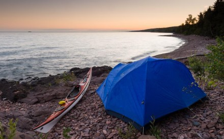 kayak campsite on Lake Superior Water Trail