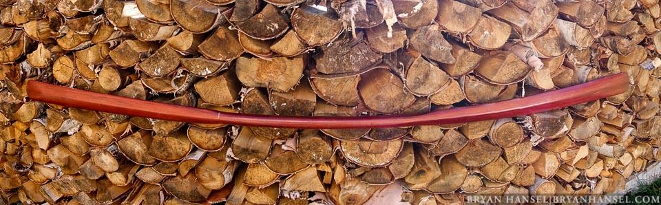 greenland paddle on wood pile
