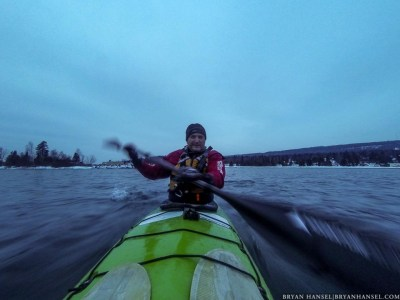 paddling with a Mythic Gear Drysuit for a review