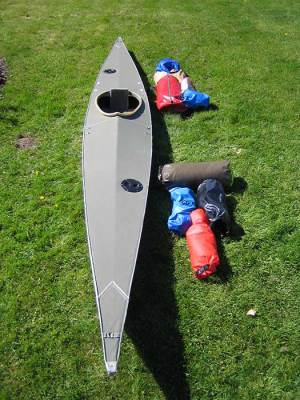 gear packed into walrus kayak