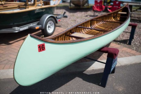 Nicely restored wood and canvas canoe
